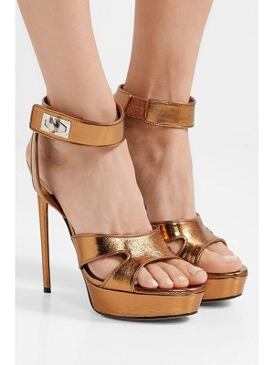 Givenchy shark lock cutout metallic leather platform sandals