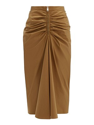 Givenchy zip front ruched cotton blend midi skirt