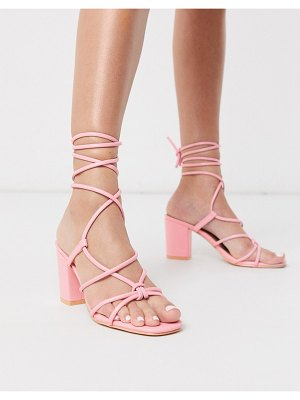 Glamorous block heel sandals with ankle tie in pink