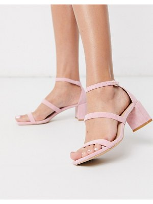 Glamorous block heeled sandal in pale pink