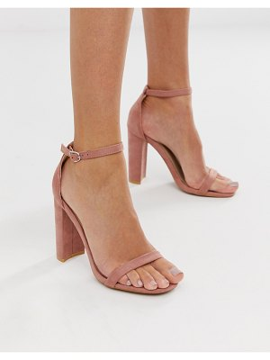 Glamorous blush barely there square toe block heeled sandals-pink