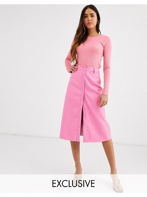 Glamorous button front midi skirt in soft faux leather-pink