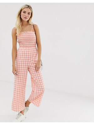 Glamorous cami jumpsuit with shirring in gingham-pink