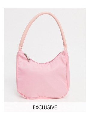 Glamorous exclusive 90s shoulder bag in pink nylon