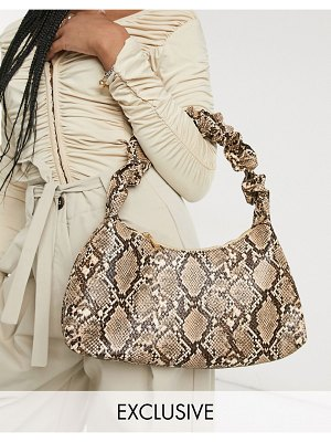 Glamorous exclusive 90s shoulder bag with ruched handle in snake print-neutral