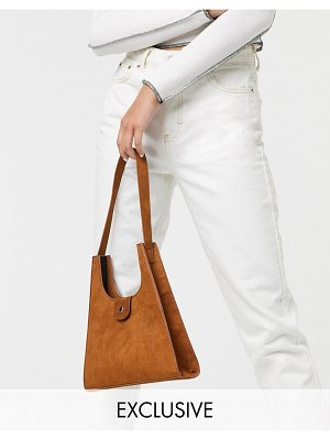 Glamorous exclusive boxy shoulder bag in brown suedette
