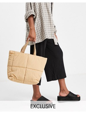 Glamorous exclusive padded tote bag in camel-neutral