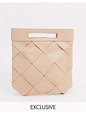Glamorous exclusive woven grab clutch bag with handle in taupe-beige