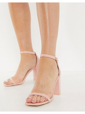 Glamorous heeled sandals with block heels in blush-pink