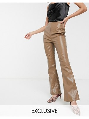 Glamorous high waist flared pants in soft faux leather-brown