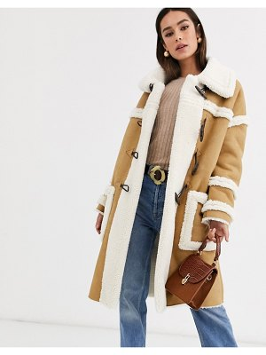 Glamorous longline coat with borg detail-tan