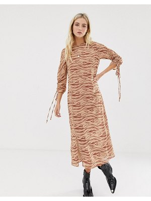 Glamorous midi dress with front splits and ruched sleeves and in subtle zebra-neutral