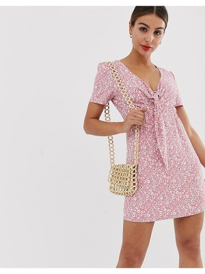 Glamorous mini dress with tie front in ditsy floral print-pink