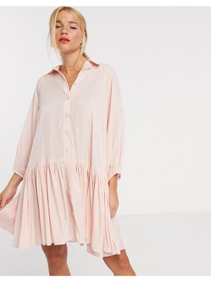 Glamorous mini smock dress with volume sleeves and open back-pink