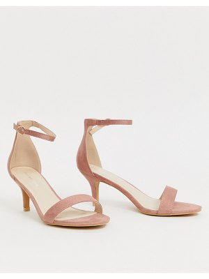 Glamorous pink barely there kitten heel sandals