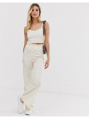Glamorous relaxed wide leg pants in fine knit two-piece-cream