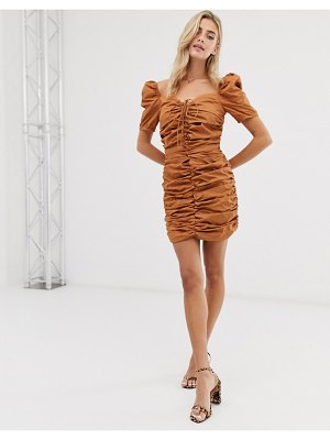 Glamorous ruched front dress with tie front-tan