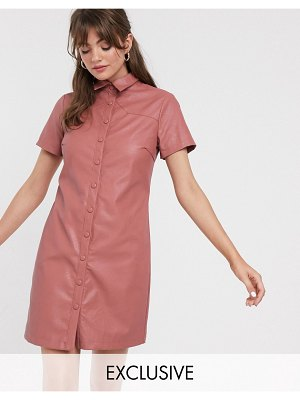 Glamorous shirt dress in soft faux leather-pink