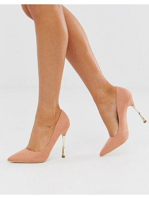 Glamorous taupe pumps with gold statement heel-beige