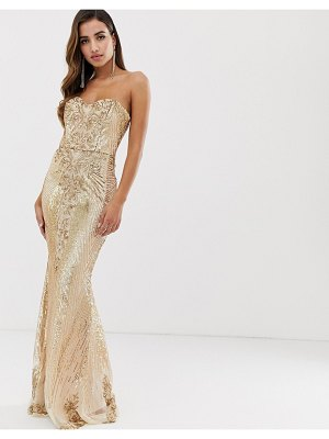 Goddiva bandeau sequin embellished maxi dress in gold