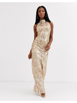 Goddiva cut out back detail maxi dress in gold