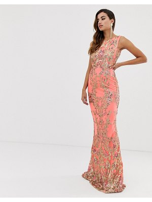 Goddiva high neck maxi embellished sequin dress in coral with gold sequin-pink
