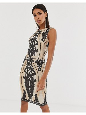 Goddiva high neck placement sequin midi dress in taupe and black