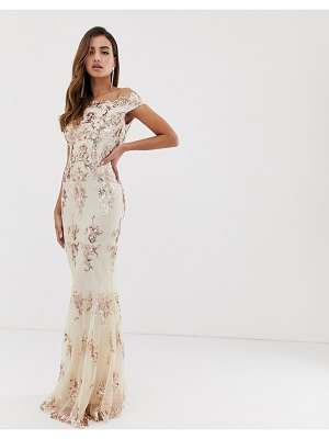 Goddiva off shoulder bardot placement lace maxi dress in blush and gold