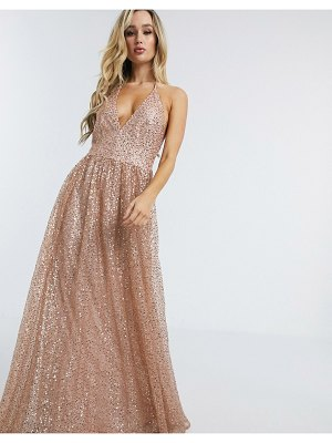 Goddiva plunge glitter cami maxi dress in metallic blush-pink