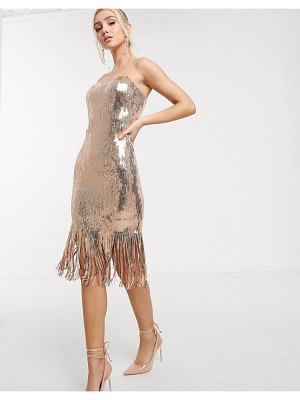 Goddiva sequin midi dress with tassel drop hem in rose gold