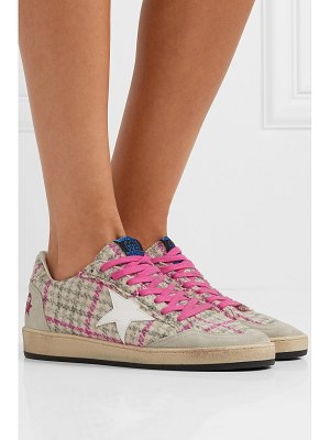 Golden Goose Deluxe Brand ball star tweed, leather and distressed glittered suede sneakers