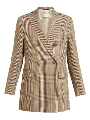 Golden Goose Deluxe Brand double breasted checked longline blazer