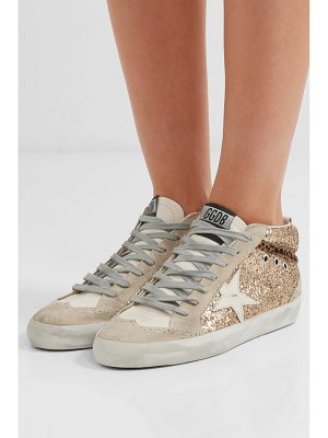 Golden Goose Deluxe Brand mid star glittered distressed leather and suede sneakers