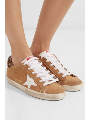 Golden Goose Deluxe Brand superstar calf hair-trimmed distressed suede sneakers