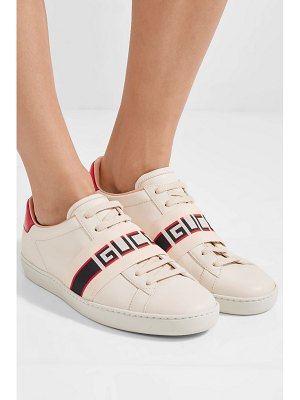 Gucci ace jacquard-trimmed logo-embossed leather sneakers