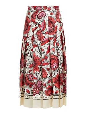 Gucci alsacienne print pleated silk skirt
