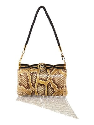 Gucci broadway crystal tassel python bag