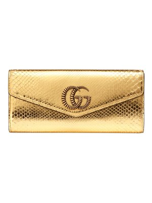 Gucci broadway python clutch with double g