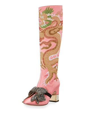 Gucci Dragon Embroidered Block-Heel Knee Boot