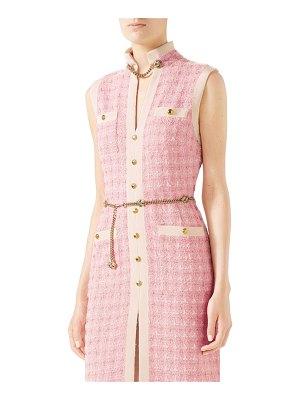 Gucci chain embellished tweed dress