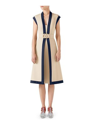 GUCCI Contrast Trim Belted Dress