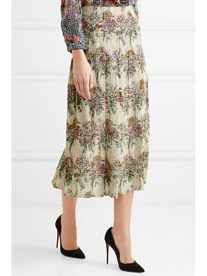 Gucci crystal-embellished pleated printed silk-twill skirt