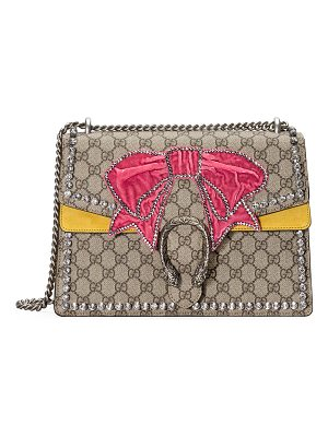 Gucci Dionysus Medium GG Supreme Canvas Shoulder Bag with Crystal Bow
