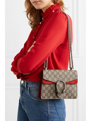 Gucci dionysus mini printed coated-canvas and suede shoulder bag