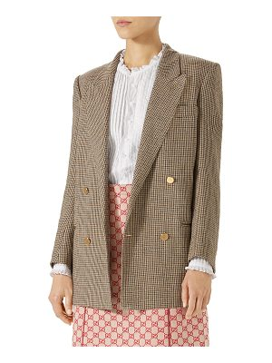 Gucci Double-Breasted Micro-Houndstooth Linen Jacket
