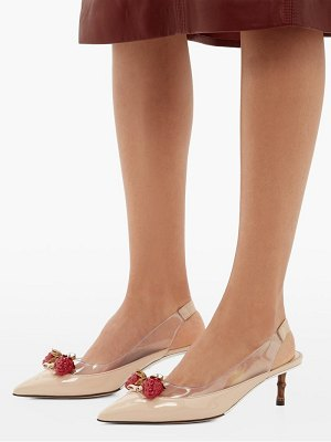 Gucci eleonor strawberry charm patent leather pumps