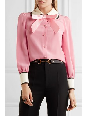 Gucci faux pearl and bow-embellished silk crepe de chine shirt