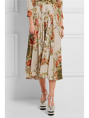 Gucci for NET-A-PORTER pleated floral-print silk midi skirt