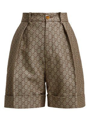 Gucci gg high rise cotton and wool blend shorts