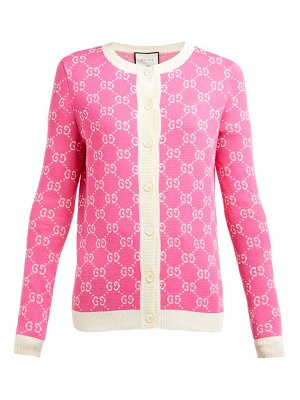 Gucci gg jacquard knit cotton cardigan